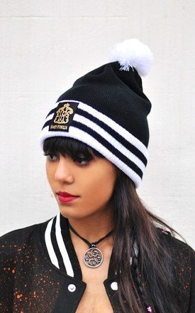 Varsity knitted beanie with pom pom by Hardy Punglia Design Product photo