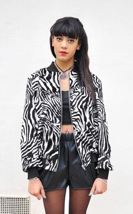 Oversized zebra print velvet bomber jacket by Hardy Punglia Design Product photo