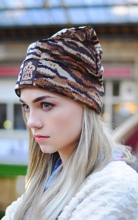 Handmade tiger print velvet beanie by Hardy Punglia Design Product photo