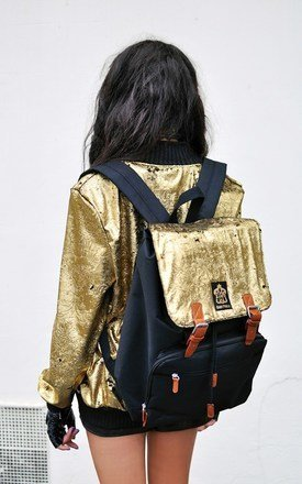 Metallic gold laptop backpack by Hardy Punglia Design Product photo