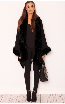 Alize black luxe fur trim poncho by LullaBellz Product photo
