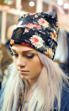 Handmade floral print velvet beanie by Hardy Punglia Design Product photo