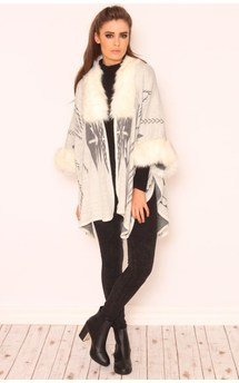 Hailey winter light grey aztec poncho by Dolly Rocka Product photo