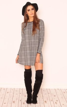 Montana check shift long sleeve dress by Dolly Rocka Product photo