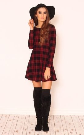 Ruby check shift long sleeve dress by Dolly Rocka Product photo