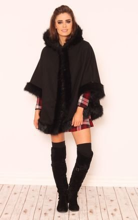 Kourtney faux fur hooded poncho by Dolly Rocka Product photo