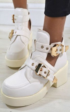 Molly chunky heel double buckle ankle biker boots in white by NAOMISHU Product photo