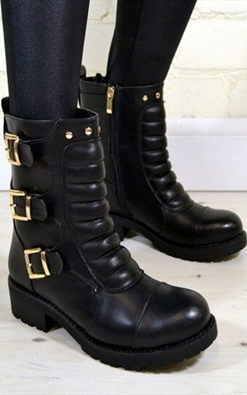 Xena military style triple buckle ankle biker boots in black by NAOMISHU Product photo