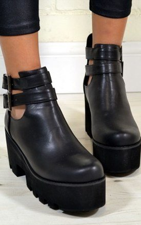 Olivia chunky heel biker style buckle ankle boots in black by NAOMISHU Product photo
