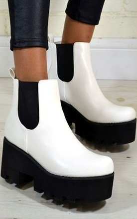 Kira chunky heel biker style chelsea ankle boots in white by NAOMISHU Product photo