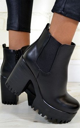 Carly chunky heel biker style chelsea ankle boots in black by NAOMISHU Product photo