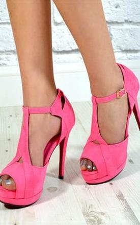 Ladies fashion high stiletto heel party cut out shoes pink by NAOMISHU Product photo