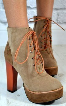 Ladies high block heel contrast lace up ankle boots by NAOMISHU Product photo