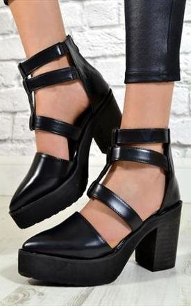 Ladies high heel cut out pointed toe ankle shoes in black by NAOMISHU Product photo
