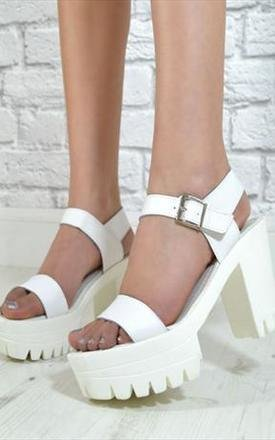Ladies grip high heel strappy summer sandals shoes in white by NAOMISHU Product photo