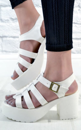 Ladies cut out chunky grip heel shoes sandals in white by NAOMISHU Product photo