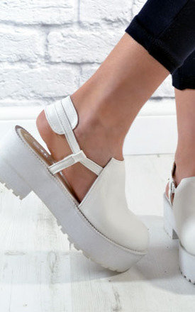 Ladies cut out platform chunky grip heel shoes sandals white by NAOMISHU Product photo