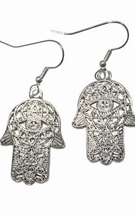 Silver iamvibes hamsa earrings by iamVibes Product photo