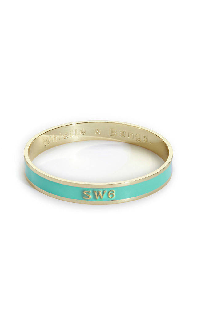 'SW6' London Postcode Bangle in Mint/Gold by Florence London