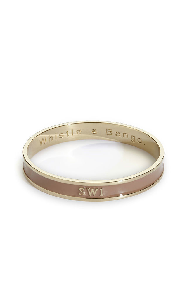 'SW1' London Postcode Bangle in Brown/Gold by Florence London