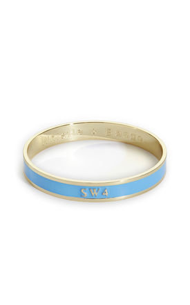 'Sw4' London Postcode Bangle In Blue/Gold by Florence London Product photo