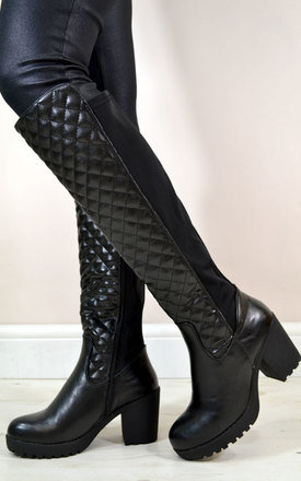 Beth chunky heel quilted riding style knee boots in black by NAOMISHU Product photo