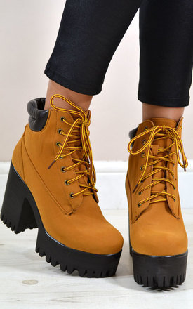 Ally chunky heel lace up platform ankle boots in tan by NAOMISHU Product photo