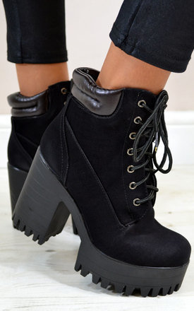 Ally chunky heel lace up platform ankle boots in black by NAOMISHU Product photo