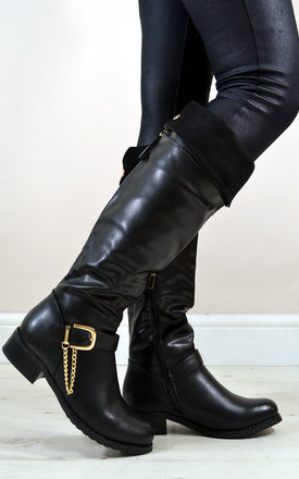 Lucy fold down buckle chain riding style knee boots in black by NAOMISHU Product photo