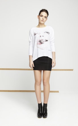 White Printed Face Top by EWA ZWOLINSKA