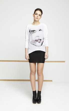 White Top With Printed Face by EWA ZWOLINSKA