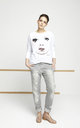 White Jumper With Printed Face by EWA ZWOLINSKA