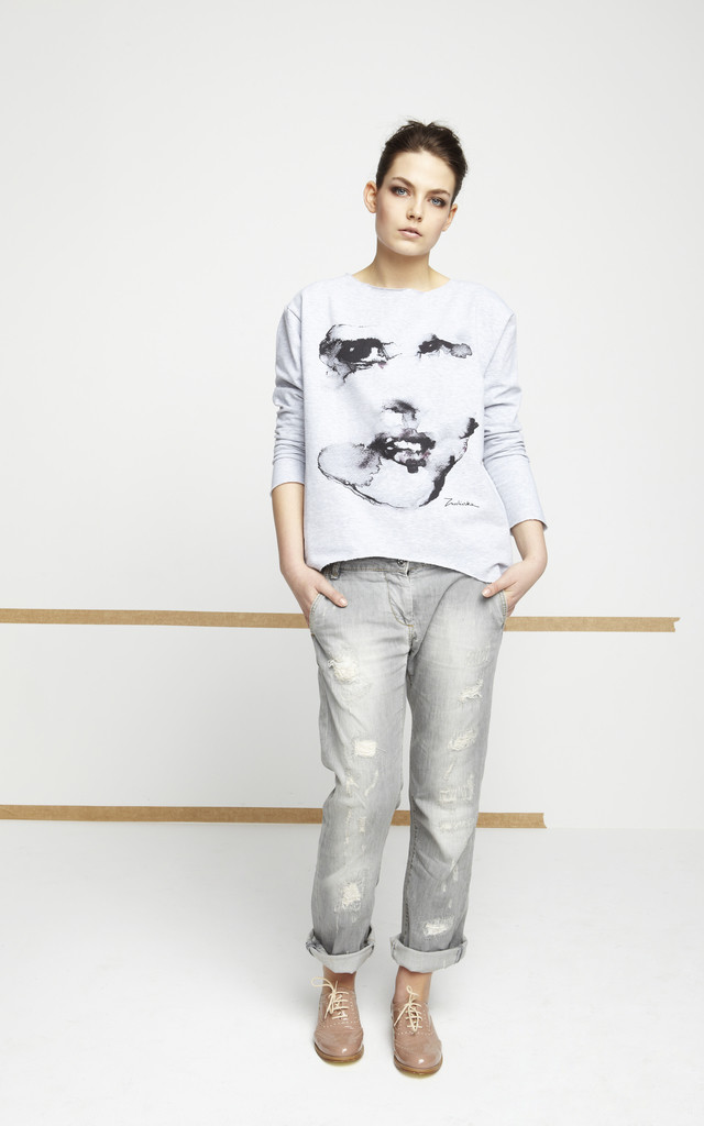 Grey Jumper With Printed Face by EWA ZWOLINSKA