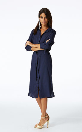 Midi shirt dress in navy by Dancing Leopard Product photo