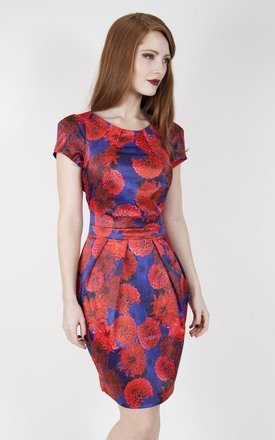 Red & navy floral tailored dress by Wolf & Whistle Product photo