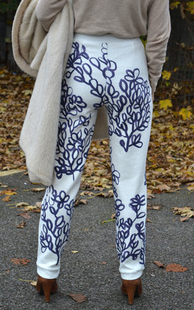 Hand Painted Leaves Trousers by Klushka