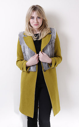 Green pistachio coat with grey fur by Liquorish Product photo