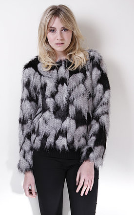 Black and grey patchy faux fur jacket by Liquorish Product photo