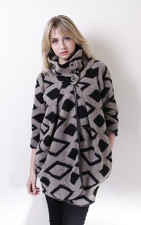 Black and beige diamond design coat by Liquorish Product photo