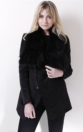 Black suede jacket with detachable fur collar by Liquorish Product photo