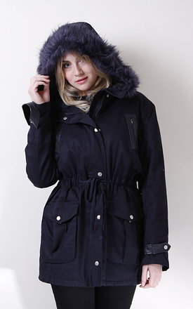 Navy parka with faux fur hood trim by Liquorish Product photo
