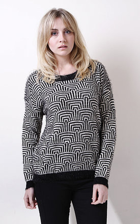 Black and white graphic jumper by Liquorish Product photo