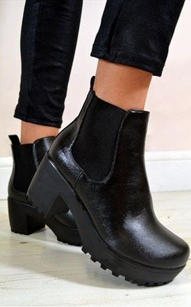 Niki chunky heel chelsea ankle boots by NAOMISHU Product photo