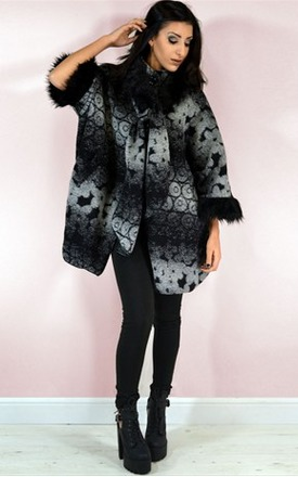 Sage faux fur trim poncho style coat by NAOMISHU Product photo