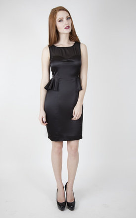 Black satin and mesh peplum dress by Wolf & Whistle Product photo