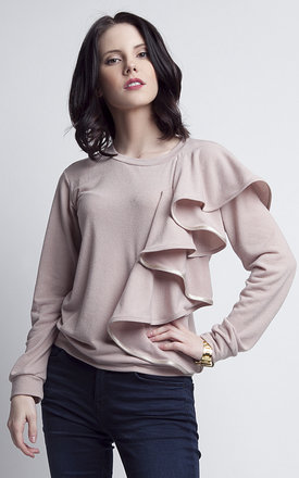 Beige blouse with frill by Lanti Product photo
