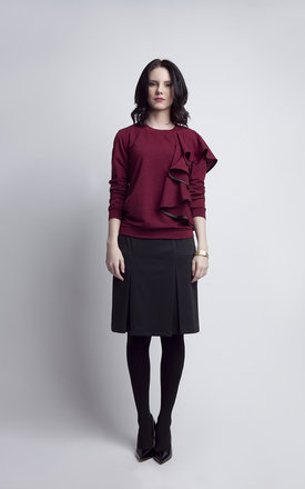 Burgundy blouse with frill by Lanti