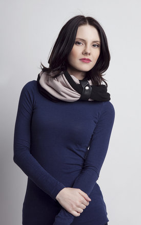 Beige and black infinity scarf by Lanti Product photo