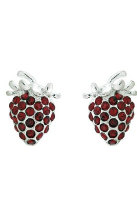 Kitsch crystal strawberry earrings by Emi Jewellery Product photo