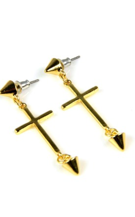 Gold cross earrings by Emi Jewellery Product photo